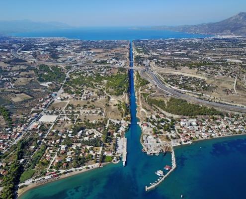 Korinth Kanal Luftbild